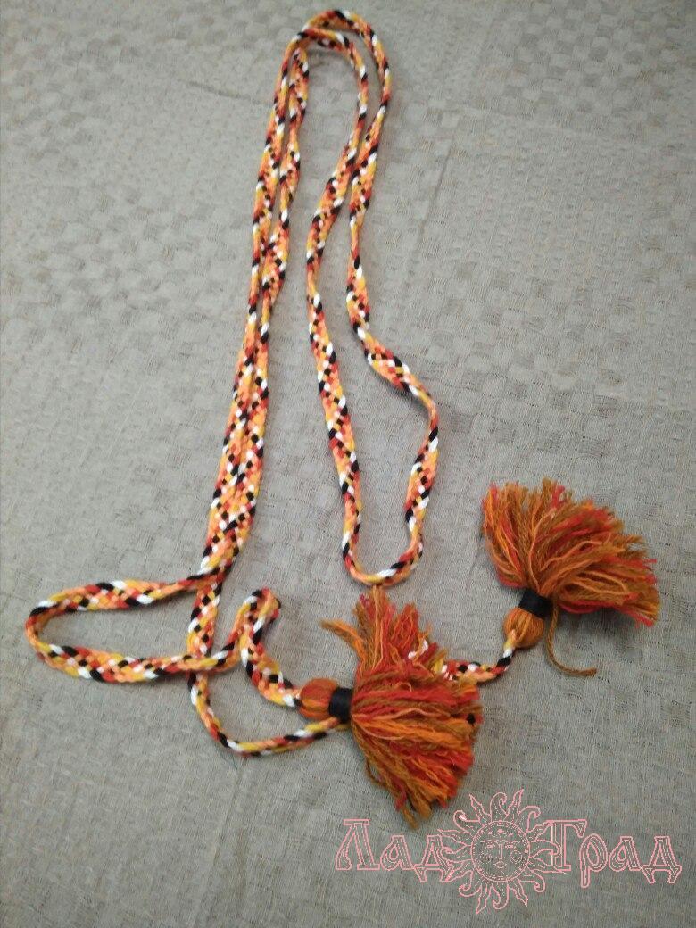 Пояс плетёный красно-чёрно-рыже-белый с пёстрыми кистями, 345/1,5 см