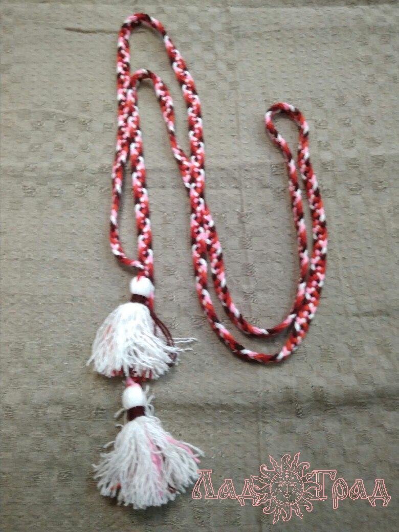 Пояс плетёный красно-бело-розово-бордовый с белыми кистями, 295/1,5 см