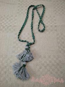 Пояс плетёный чёрно-зелёный с серыми кистями, 195/1,5 см_1