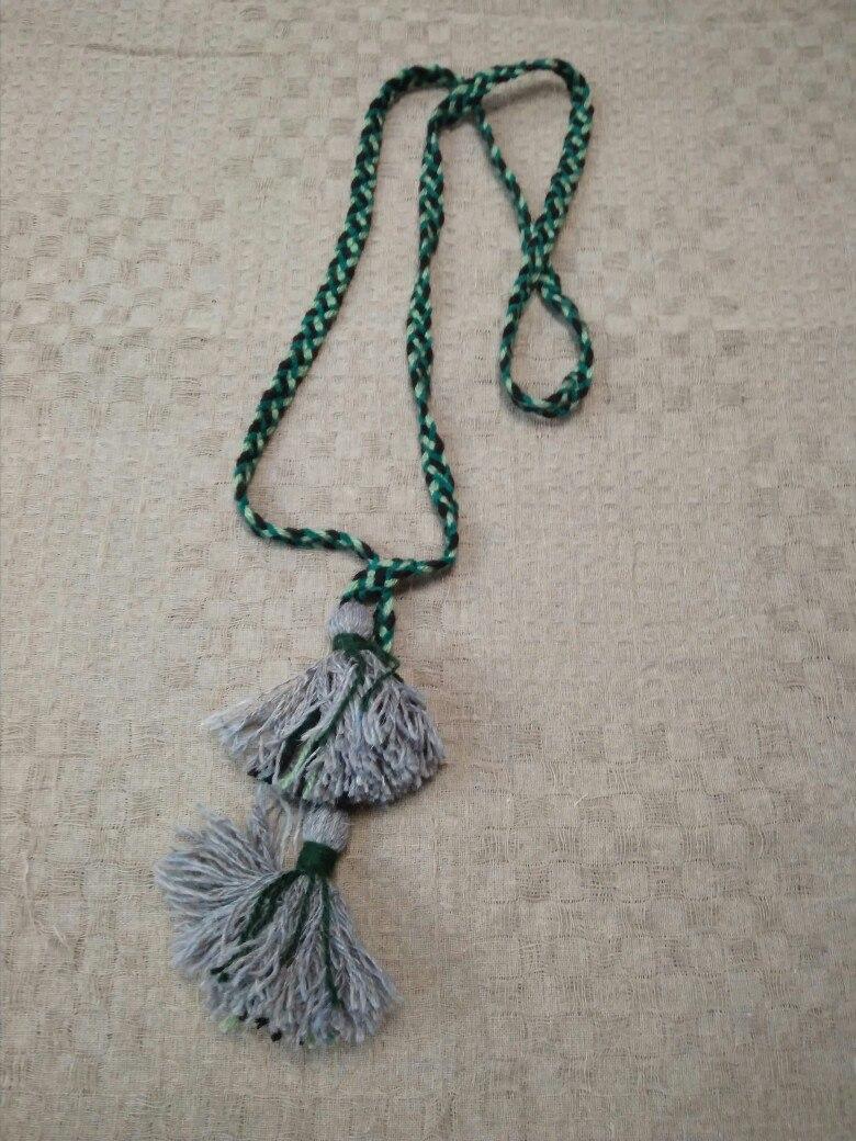 Пояс плетёный чёрно-зелёный с серыми кистями, 195/1,5 см