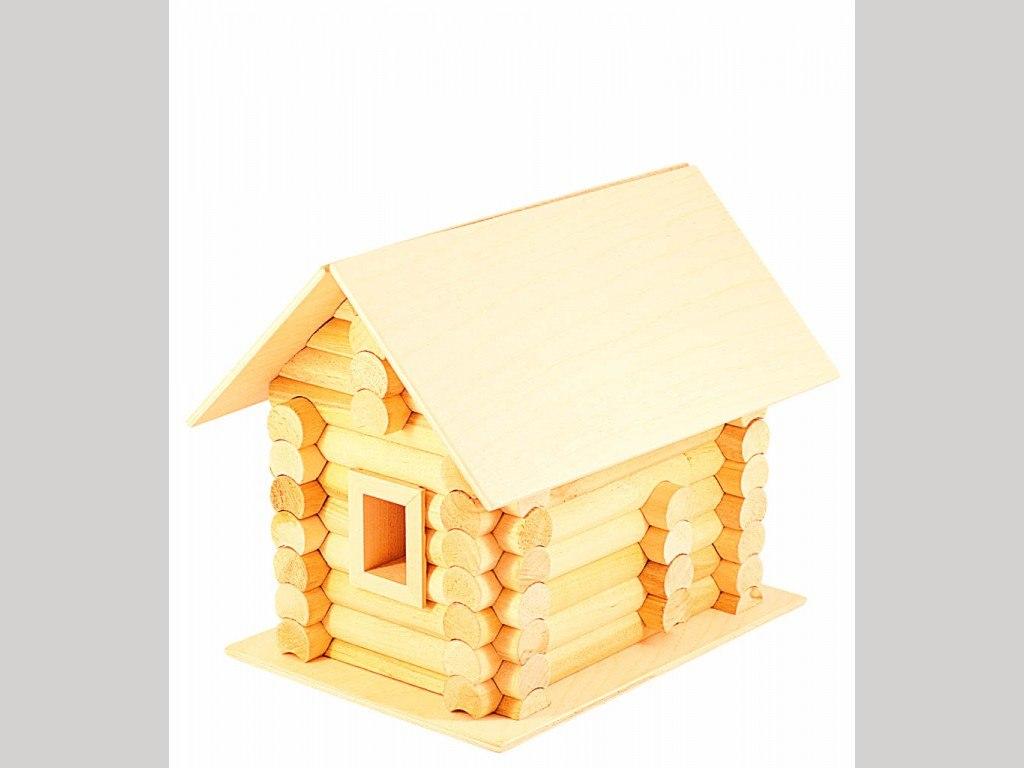 Деревянный домик-конструктор «Избушка» 82 элем, в картоне