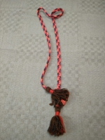 Пояс плетёный коричнево-розово-красно-фиолетовый с коричневыми кистями, 160/1,5 см_0
