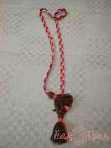 Пояс плетёный коричнево-розово-красно-фиолетовый с коричневыми кистями, 160/1,5 см_1