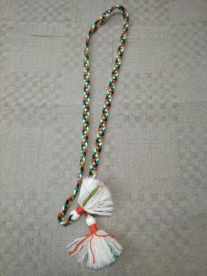 Пояс плетёный чёрно-красно-бело-зелёный с белыми кистями, 160/1,5 см