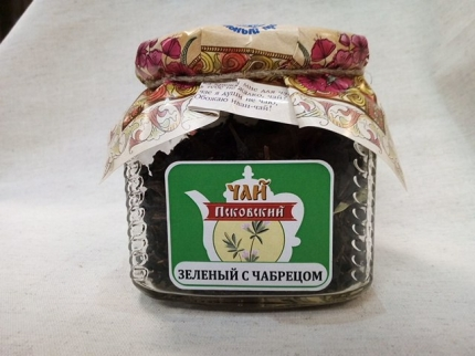 """Псковский иван-чай отборный """"Зеленый с чабрецом"""", стеклобанка 50 гр"""
