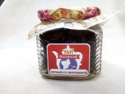 """Псковский иван-чай отборный,""""Черный со смородиной""""  стеклобанка 25 гр,"""