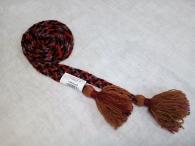 Пояс плетёный красно-чёрно-зелёно-фиолетовый с коричневыми кистями, 290/2 см