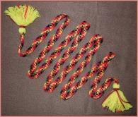 Пояс плетёный красно-жёлто-чёрно-коричневый с жёлтыми кистями, 265/2 см