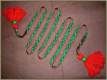 """Пояс тканный на бердо с узором """"Ящеры"""" красно-зелёный, средний"""
