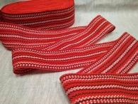 Лента декоративная для поясов красно-бело-чёрная 9422-3, акрил, 50 мм