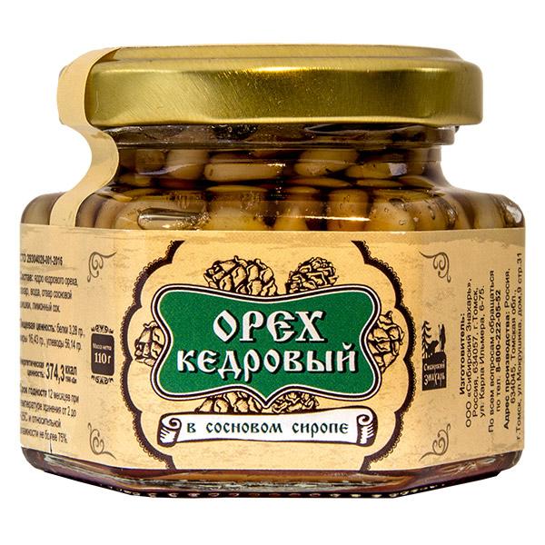Ядро кедрового ореха в сосновом сиропе, 90 мл, стекло