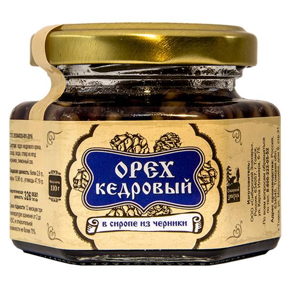 Ядро кедрового ореха в сиропе из черники, 90 мл, стекло