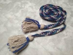 Пояс плетёный сине-чёрно-серо-фиолетовый с серыми кистями, 280/2 см