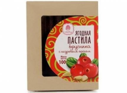 Пастила ягодная брусничная с кедровым орехом, 100 гр