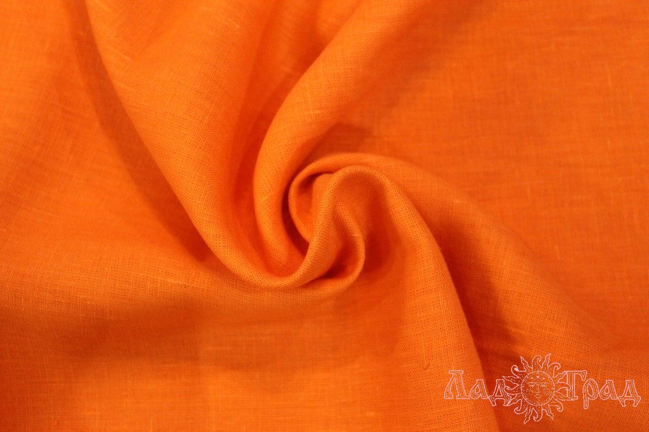 Лён костюмный оранжевый яркий (0/392) ш150/пл185