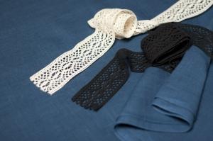 Лён костюмный синий этнографический (0/369), ш150/пл185_0