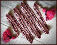 Пояс длинный тканный с рунами плодородия ,  розово-красно-чёрный
