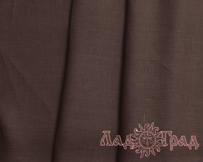 Лён костюмный тёмно-коричневый (0/551), ш145/пл170