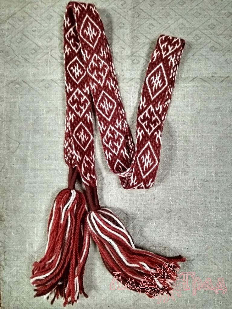 Пояс Одолень-трава бордово-коричневый с белым