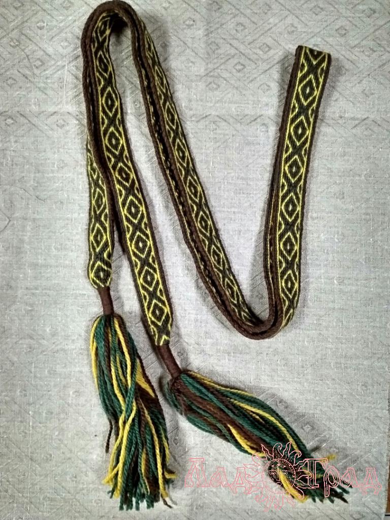 Пояс Жёлто-зелёный с коричневым