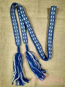 Пояс Крест-ромб бело-синий с голубым