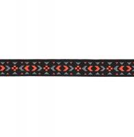 Тесьма жаккардовая чёрная + розовый/серый (12898), 12 мм_0