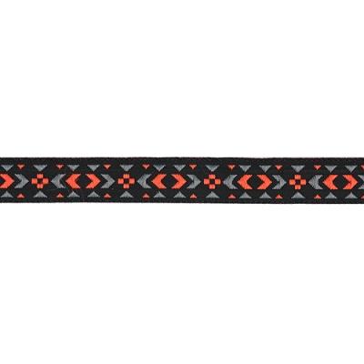 Тесьма жаккардовая 12мм черная + розовый/серый, 12898