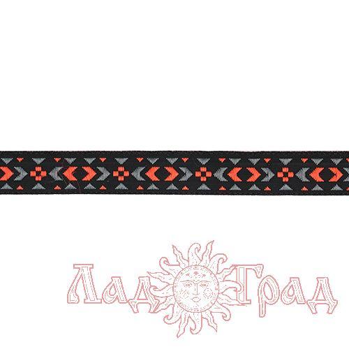 Тесьма жаккардовая чёрная + розовый/серый (12898), 12 мм
