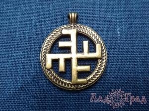 Оберег прорезной, односторонний Небесный крест бронза_1