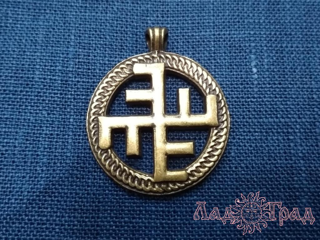 Оберег прорезной, односторонний Небесный крест бронза