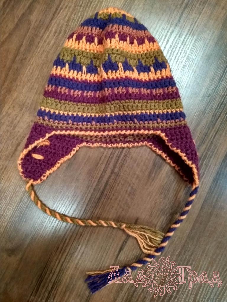Шапка вязанная с ушками рыже-фиолетовая
