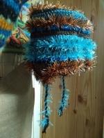 Шапка вязанная с ушками голубая с бежевым, махровая