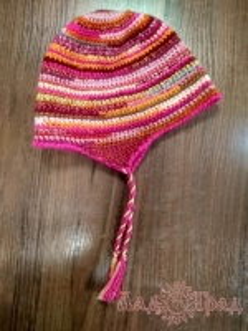 Шапка вязанная с ушками розовый меланж