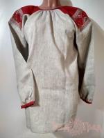 Рубаха женская льняная серая с красным лоскутным поликом, 45 рр_1