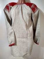 Рубаха женская льняная серая с красным лоскутным поликом, 45 рр_0
