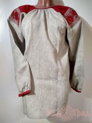 Рубаха женская льняная серая с красным лоскутным поликом, 45 рр