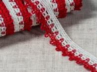 Тесьма отделочная, лён с красным, 19 мм