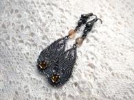 Серьги Жар-птицы (сердолик) посеребрение