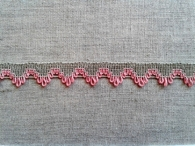 Тесьма отделочная, лён с розовым, 17 мм (6244)_0