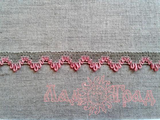 Тесьма отделочная, лён с розовым, 17 мм (6244)