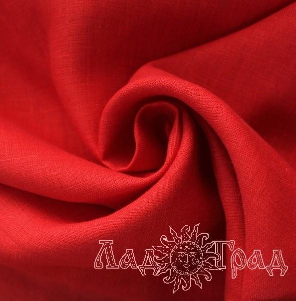 Лён костюмный красный (0/1493), ш150/пл185