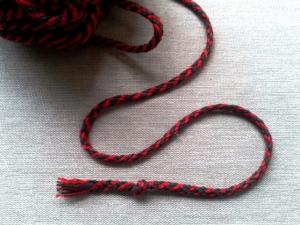 Шнур тёмно-зелёный/красный, х/б 100%, 4 мм