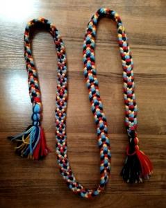 Пояс плетёный оранжево-красно- зелёно-голубой с кистями, 215/3,5 см