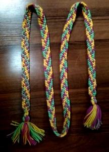 Пояс плетёный розово-зелёно- жёлтый с кистями, 220/2,5 см