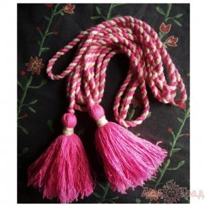 Пояс кручёный розово-бежевый с розовыми кистями, ~400 см