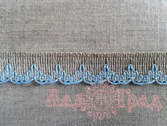 Тесьма отделочная лён с голубым, 18 мм (6206)