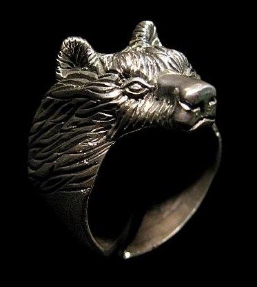 Кольцо Медведь большой РУ-К3.010 (оберег, посеребрение)_1
