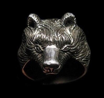 Кольцо Медведь большой РУ-К3.010 (оберег, посеребрение)_0