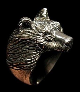 Кольцо Медведь большой РУ-К3.010 (оберег, посеребрение)