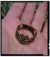 Кольцо с вязью защитное, бронза, 18 р-р